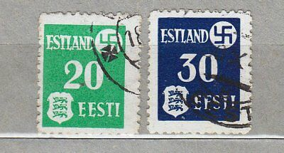 WORLD WAR 2: OCCUPATION IN ESTONIA, SVASTICA 20 and 30 1941, thick paper