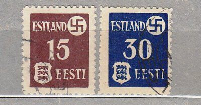 WORLD WAR 2: OCCUPATION IN ESTONIA, SVASTICA 15 and 30 1941, thin paper