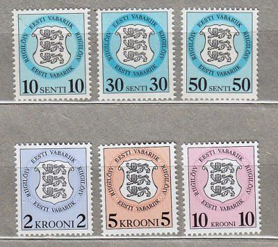Estonia: 6 Revenue Stamps 1992, Mnh**