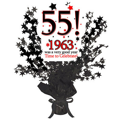 55th Birthday Age 55 1963 Party Supplies BLACK STAR CENTERPIECE