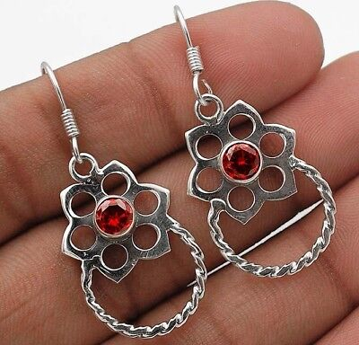 "Fire Garnet 925 Solid Sterling Silver Earrings Jewelry 1 2/3"" Long"