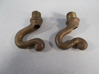 Vintage Pair of Cast BRASS Electric Fixture Hooks 1&5/8 inches tall
