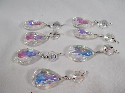 Victorian Lot of 7 Vintage Aurora Borealis Iridescent Crystal Pendalogue Prisms