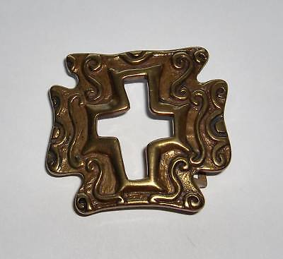 Nwot Vintage Abstract & Artsy Belt Buckle Brass Plated Well Made - Very Cool!