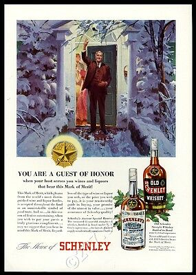 1935 Schenley Rye and Straight whiskey Christmas party house greeting print ad