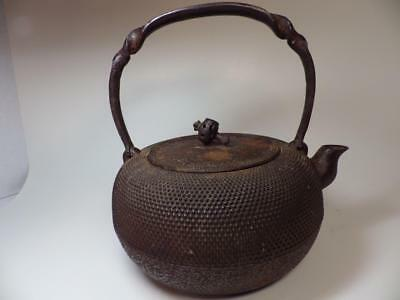 Antique Tetsubin Cast Iron Teapot JAPAN & Character Mark 5 Cup