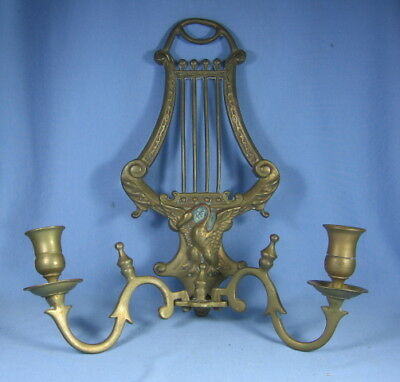 Extraordinary SWAN & Music LYRE Brass Double Arm WALL SCONCE CANDLEHOLDER