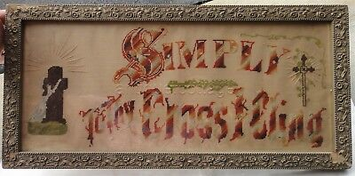 1800s antique PAPER PUNCH SAMPLER christian SIMPLY TO CROSS I CLING silver foil