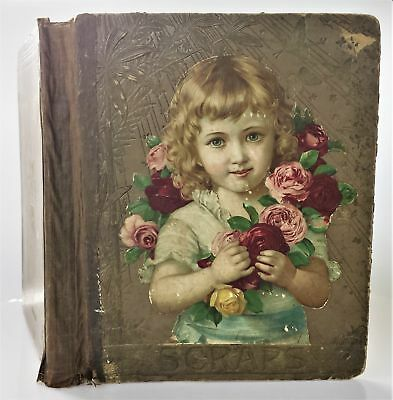 1880 antique victorian DIE CUT SCRAPBOOK 29pg ads albany syracuse troy winter