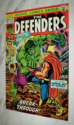 Defenders #10 NM+ 9.6 OW/W pages Unrestored 1973 Marvel Hulk vs Thor battle