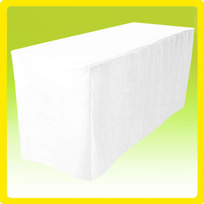 5' Fitted Tablecloth Wedding Banquet Event Table Cover  - WHITE