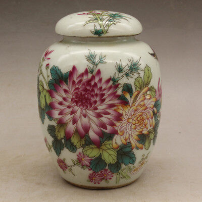 Chinese old porcelain Hand painted famille rose flower and bird tea caddy