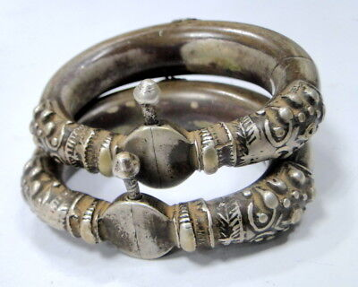 vintage antique ethnic tribal old silver bangle bracelet cuff jewelry pair