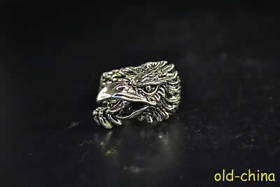 Vintage Collectible handwork Old Tibet Silver Bird Eagle Totem Ring