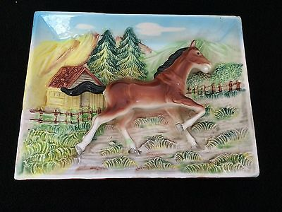 VINTAGE Horse / PONY 3-D ceramic wall plaque  HANGING OR STAND 6 X 8