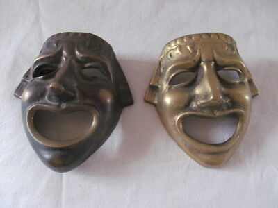Two Unusual Antique / Vintage Brass Face Masks Wall Hung