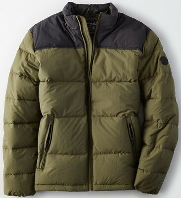 NWT $149 American Eagle Men's Colorblock Mock Neck Puffer Jacket S M L XL 2X 3X
