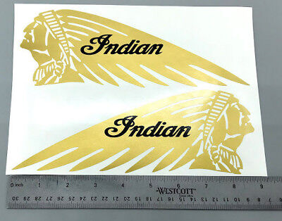 BM-12076 Indian Motorcycle Tank 9in Gold Metallic Bumper Sticker Window Decal
