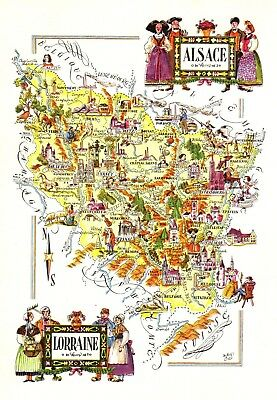 Vintage Alsace France Picture Map Pictorial Map Of Lorraine France