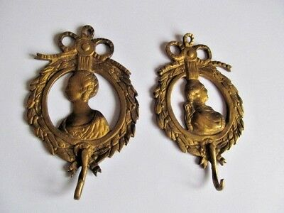 Superb Antique / Vintage Solid Brass Ornate Coat / Key Hooks Etc