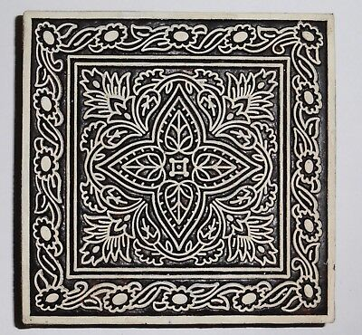 Floral Square Shaped 11.2cm Indian Hand Carved Wooden Printing Block (2018-SQ-1)