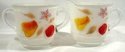 Vintage Set Frosted Satin Glass Creamer Sugar Hand Painted Pear Cherry Flower