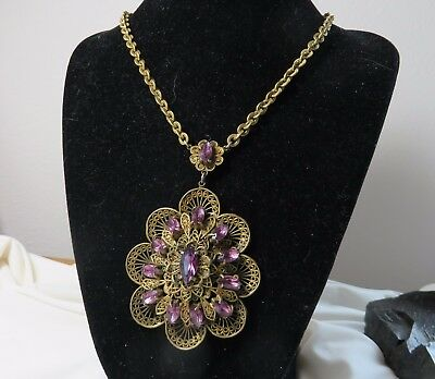 Vintage Art Deco Purple Amethyst and Brass Necklace