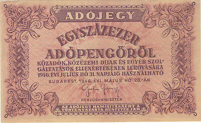 1946 100,000 Tax Pengo Hungary Currency Banknote Note Money Bill Cash 100000