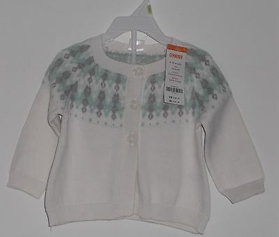 New With Tag  Gymboree Baby Girl  Fair Isle Cardigan Sweater Size 6 - 12  Months