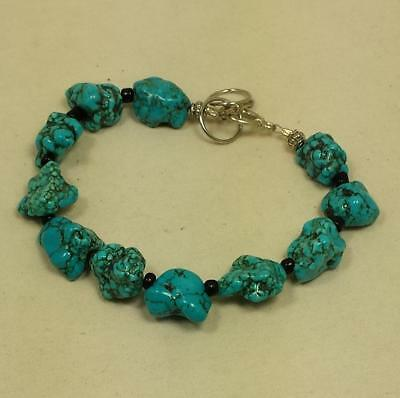 hand made rustic  turquoise nugget bracelet/adjustable length(z119-w1)