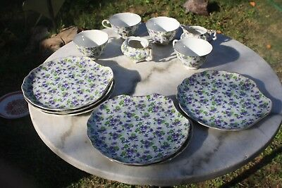 Lefton China 638 Lunch Plates 6 Shell shaped, Cups Match  4, Cream & Sugar 663 V