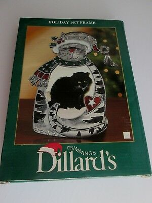Trimmings Dillards HOLIDAY PET CAT FRAME Fancy Enameled HEAVY NEW Metal GLASS