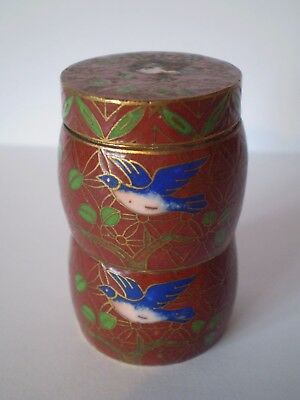 Stunning Small Sized Cloisonne Enamel Round Trinket Pot..highly Decorated