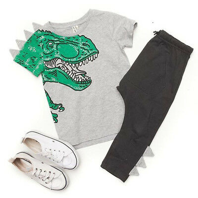 Kids Baby Boy Girl Clothes Dinosaur Tops T-shirt + Long Pants Outfit Set Costume