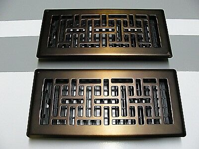 """Two Art & Craft Style Steel Floor Vent Covers - Antique Brass Finish - 4"""" by 10"""""""