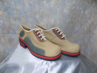 60s 70s vintage Pierre D'alby cream red blue lace up shoes red blue stripe heel