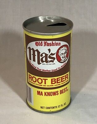 MA'S ROOT BEER SODA CAN METAL 12 OZ VINTAGE ALUMINUM PULL TAB TOP OPENED 1970's