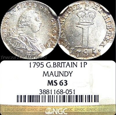 """NGC MS63 Certified! 1795 """"Maundy"""" Great Britain Silver Penny! sku #8051"""