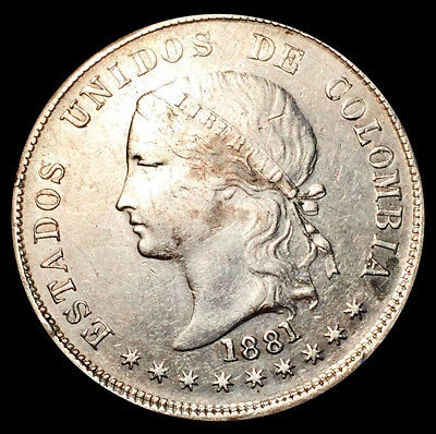 1881 Silver Colombia 50 Centavos Lady Liberty Coin - Bogota Mint - About UNC.