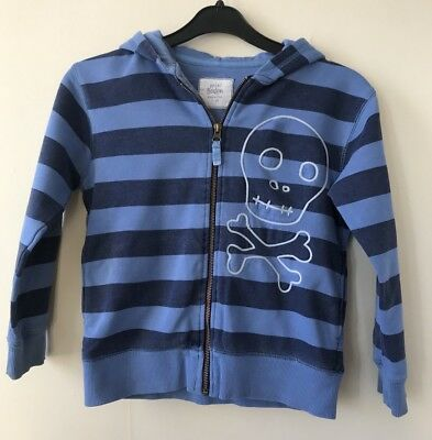 Mini Boden Age 7-8 Years Blue Striped Scull & Bones Zip Up Hoodie