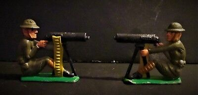 2 Antique Ww 1 Machine Gunners Toy Lead Soldiers Military Americana Hand Painted
