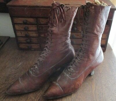 Fantastic Women's Old Antique Tan Soft Leather Boots Shoes Lace Up