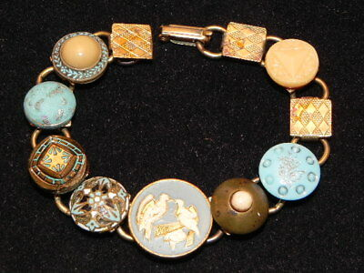 "Vintage Blue Enamel & Glass Disc White Dove Bird Linked Gold Tone 7"" Bracelet"