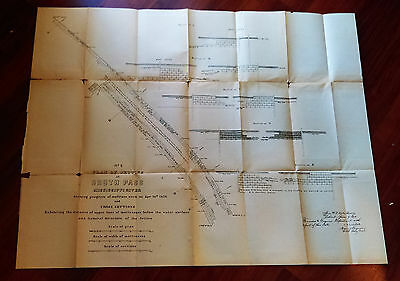 1876 Map Plan of Jetties at South Pass Mississippi River