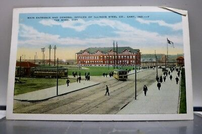 Indiana IN Gary Steel City Co Main Entrance General Offices Postcard Old Vintage