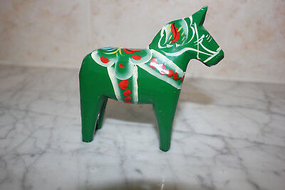Original Dala Horse Green From Sweden. 4 inch