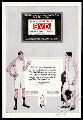1922 BVD B.V.D. men's underwear 2 men color art vintage print ad