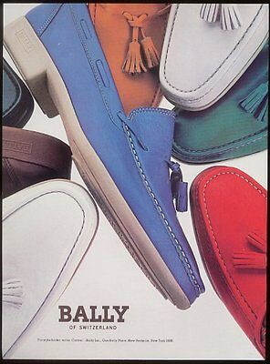 1982 Bally of Switzerland colorful boat shoes photo vintage print ad