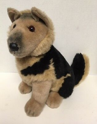 "JC Penney GERMAN SHEPHERD 13"" Plush Dog Vintage Sitting Stuffed Animal"