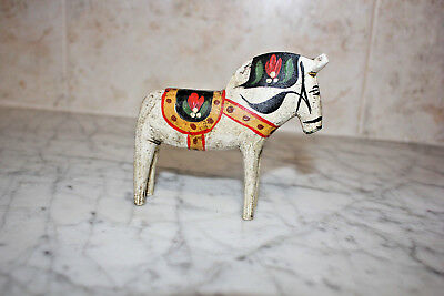 Original Dala Horse White  From Sweden. 4 inch. Copy of Vintage stlye